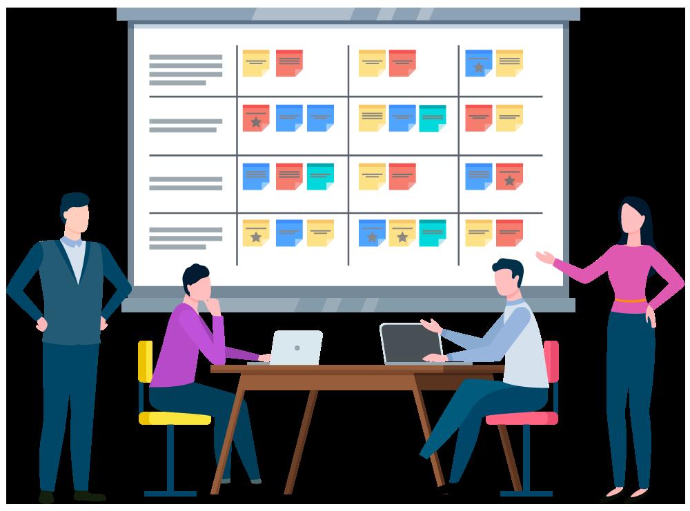 team-meeting-around-workflow-chart
